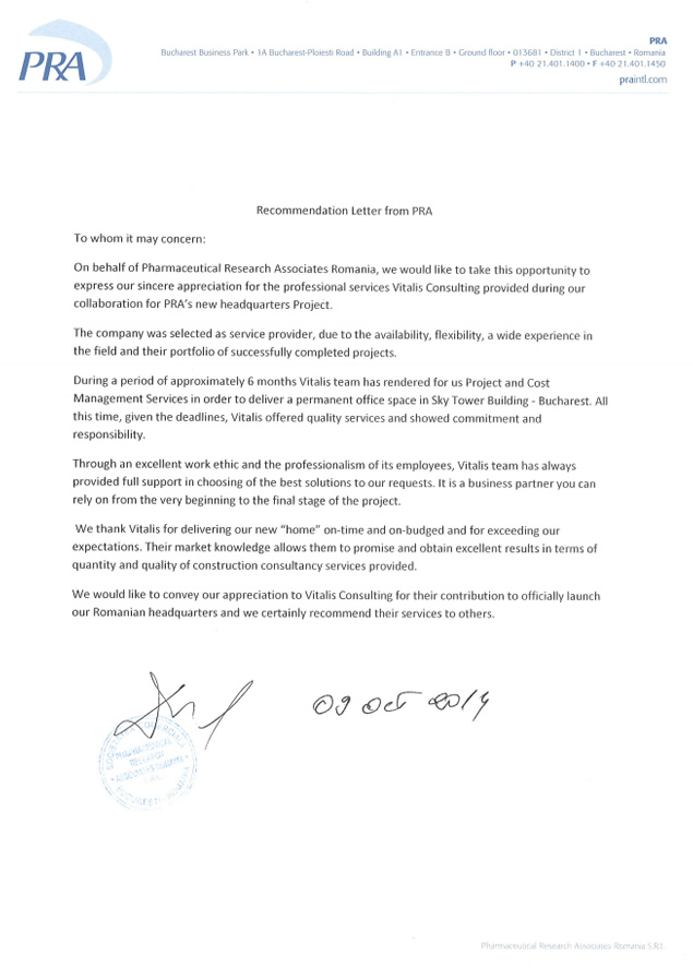 recommendation letter for consultant